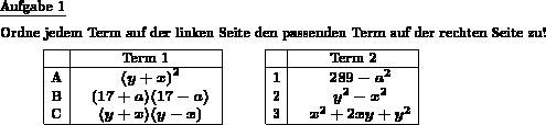 binomische formel vereinfachung zuordnen individuelle mathe arbeitsbl tter bei dw aufgaben. Black Bedroom Furniture Sets. Home Design Ideas