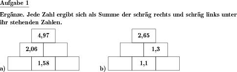 Zahlenmauer mit Dezimalzahlen ergänzen - Individuelle Mathe ...